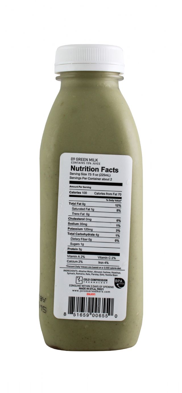 Juice Served Here: JuiceServed GreenMilk Facts