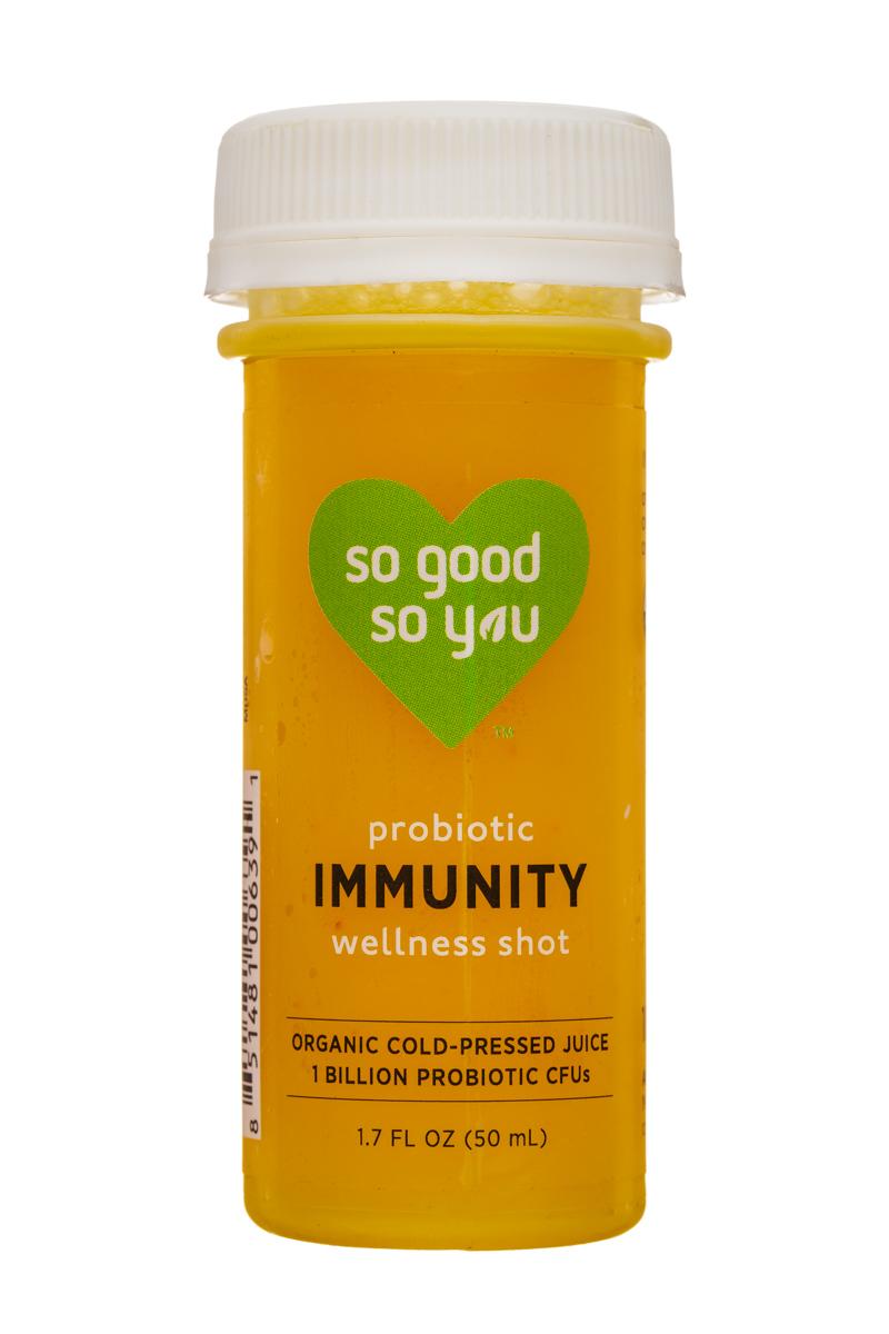 Juice So Good Probiotic Wellness Shots: SoGood-2oz-WellnessShot-Immunity-Front