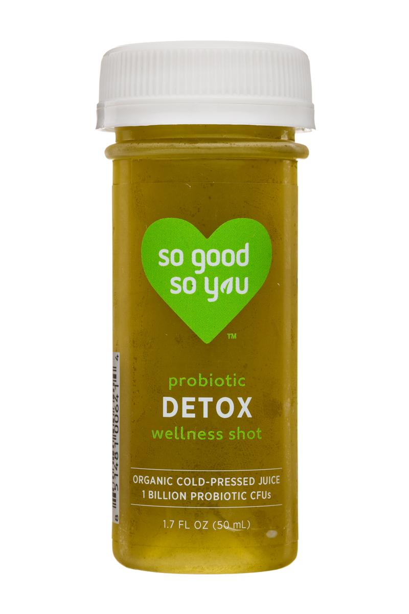 Juice So Good Probiotic Wellness Shots: SoGood-2oz-WellnessShot-Detox-Front