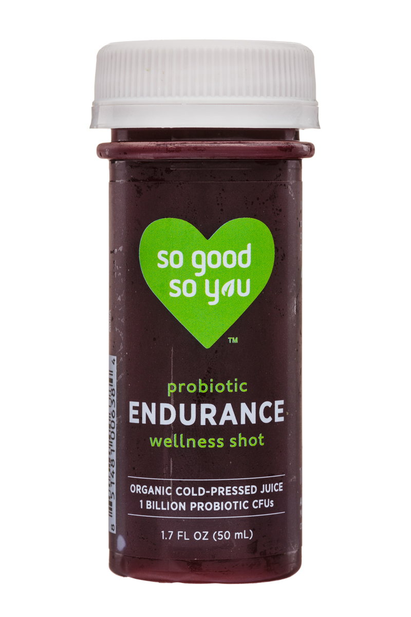 Juice So Good Probiotic Wellness Shots: SoGood-2oz-WellnessShot-Endurance-Front