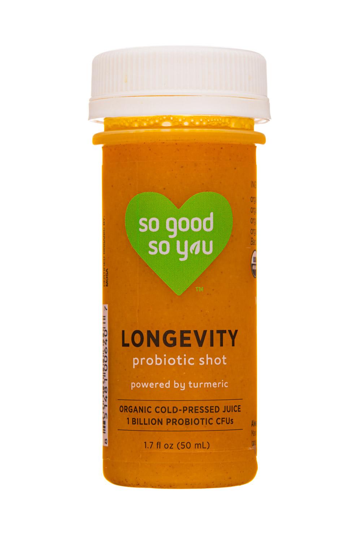 So Good So You: JuiceSoGood-2oz-2020-ProbioticShot-Longevity-Front