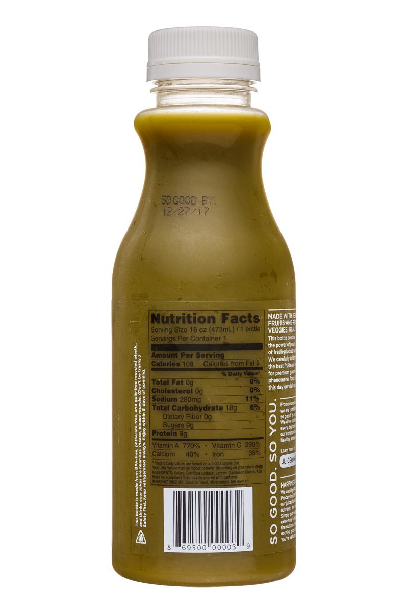 Juice So Good: JuiceSoGood-16oz-FierceGreens-Facts