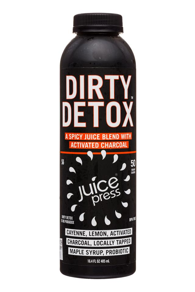 Juice Press: JuicePress-16oz-DirtyDetox-CayenneLemonCharcoalMaple-Front