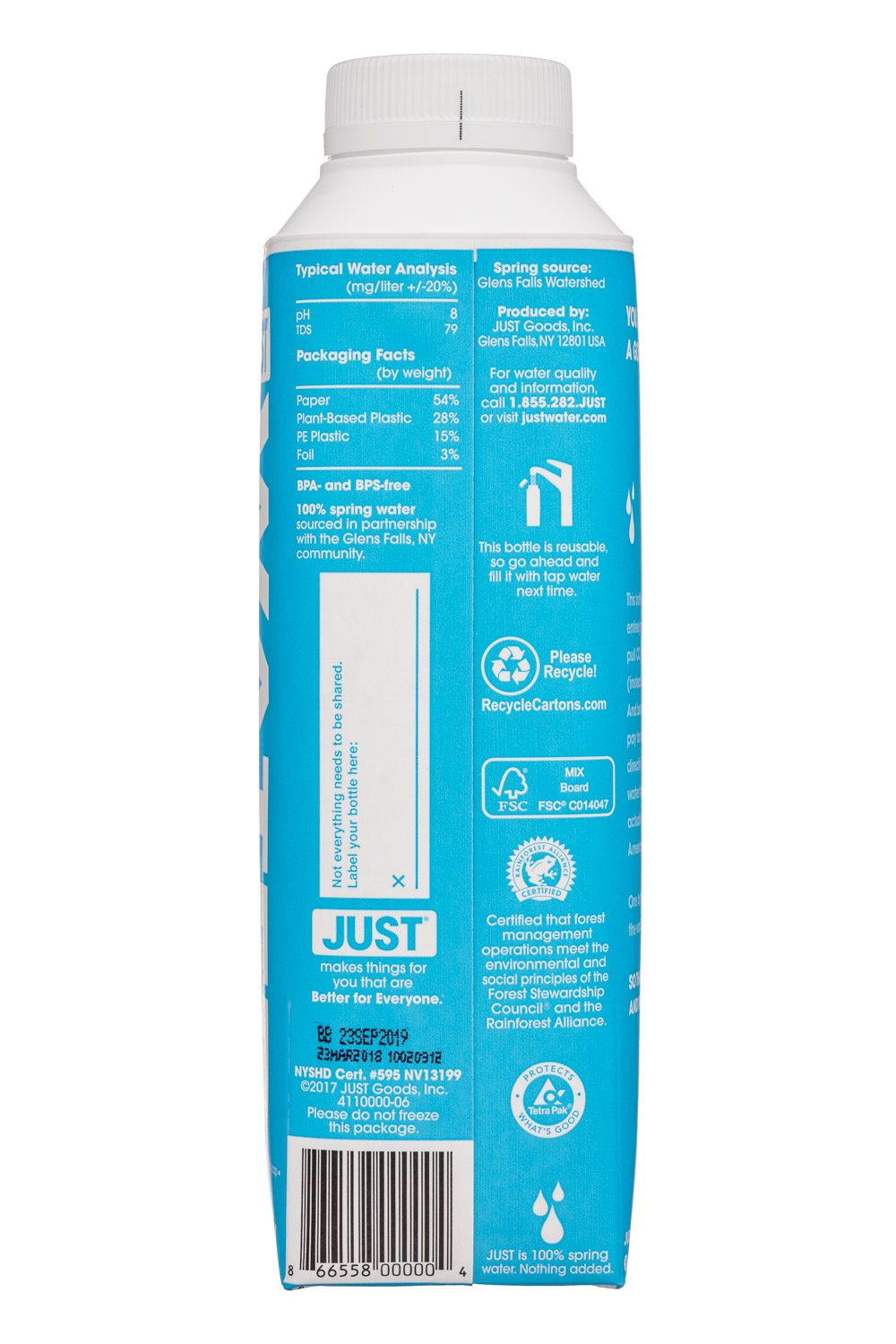 Just Water: JustWater-17oz-Facts