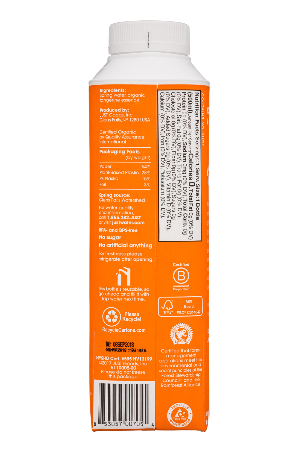 Just Water: JustWater-17oz-Tangerine-Facts