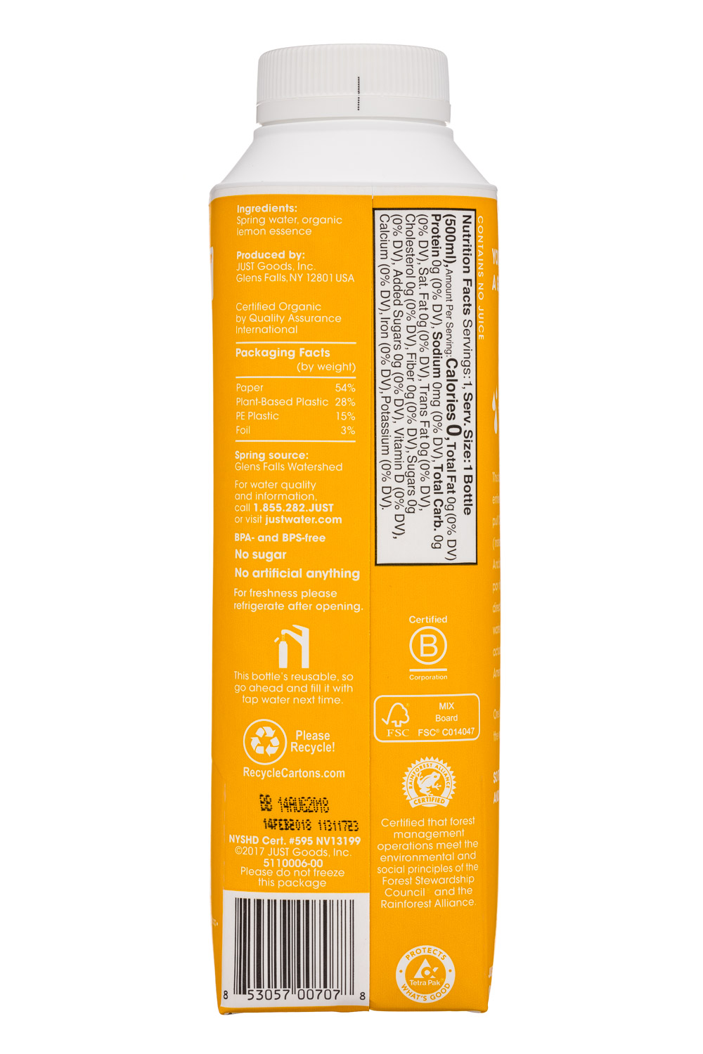 Just Water: JustWater-17oz-Lemon-Facts