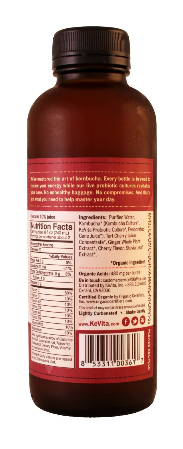 KeVita Master Brew Kombucha: Kevita TartCherry Facts