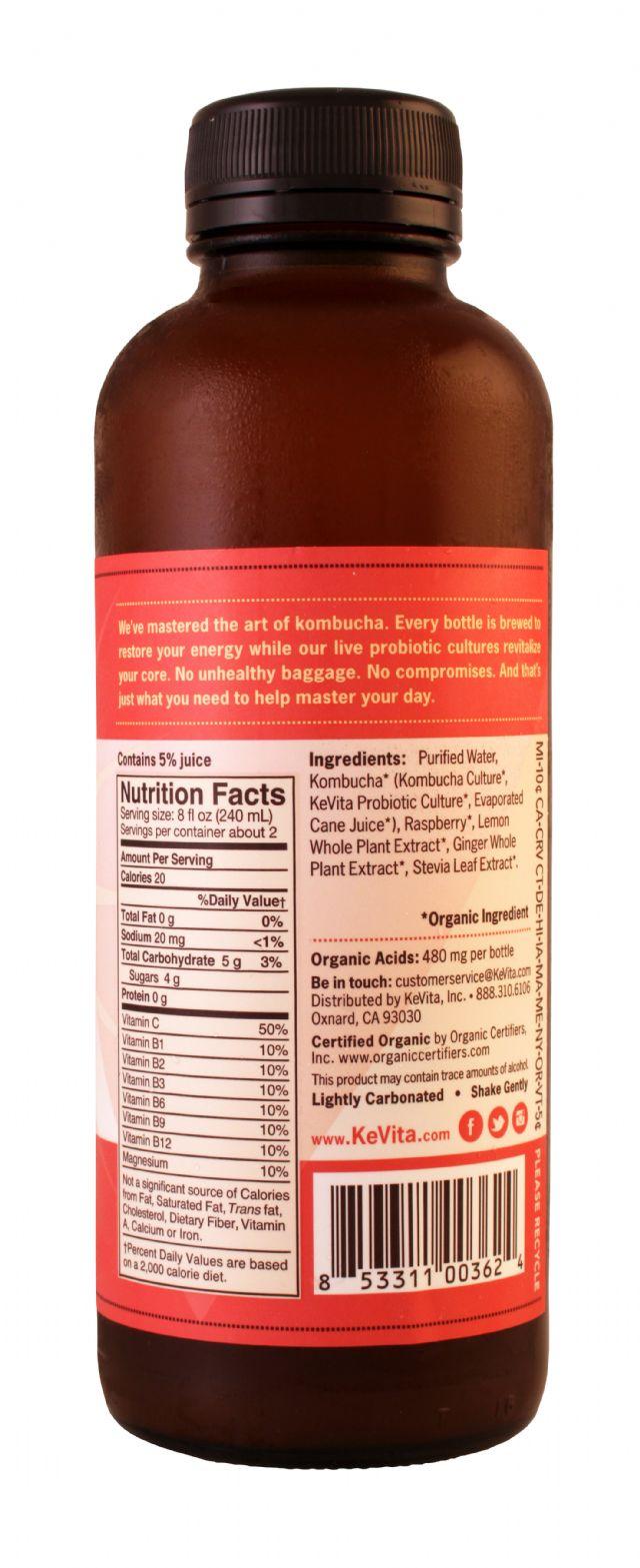 KeVita Master Brew Kombucha: Kevita RaspberryLem Facts