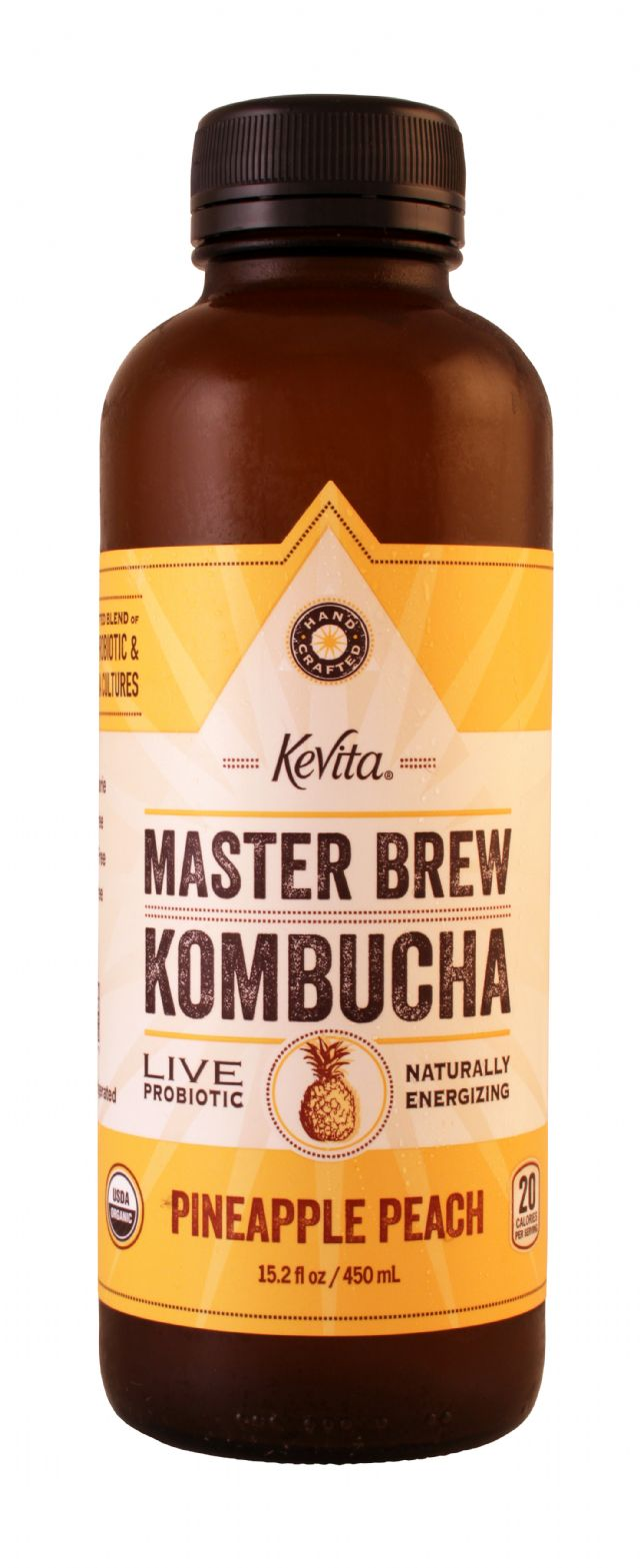 KeVita Master Brew Kombucha: Kevita PinePeach Front