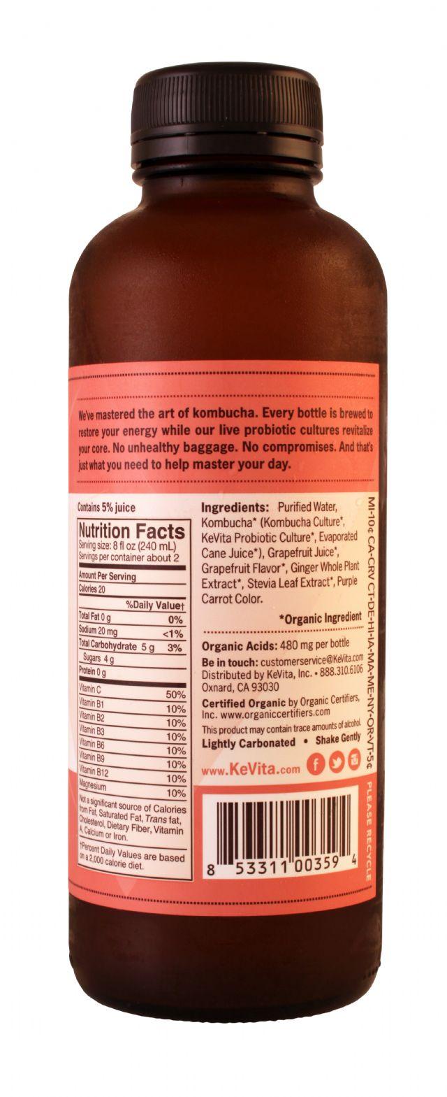 KeVita Master Brew Kombucha: Kevita Grapefruit Facts