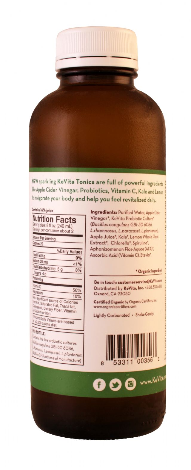 KeVita Tonics: KevitaTonics KaleLemon Facts