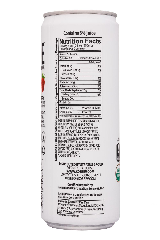 KOE  Organic Kombucha: Koe-12oz-Kombucha-RaspDragon-Facts