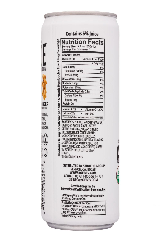 KOE  Organic Kombucha: Koe-12oz-Kombucha-LemonGinger-Facts