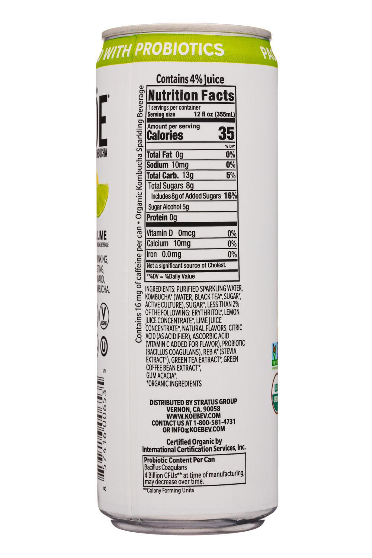 KOE  Organic Kombucha: Koe-12oz-2020-Kombucha-LemonLime-Facts