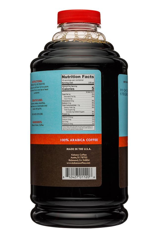 Kohana Coffee: Kohana-32oz-ColdBrewCoffee-Concentrate-HouseBlend-Facts