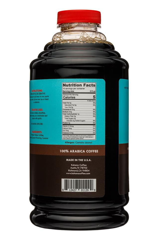 Kohana Coffee: Kohana-32oz-ColdBrewCoffee-Concentrate-ToastedCoconut-Facts