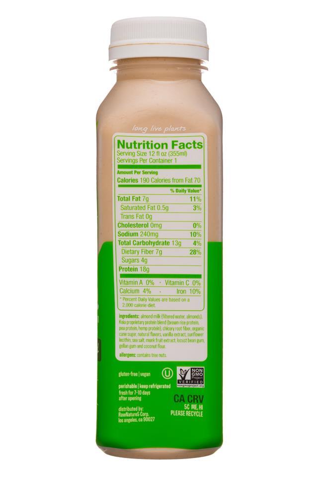 Koia: Koia-12oz-Nutrition-CoconutAlmond-Facts