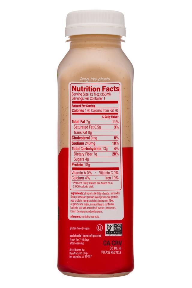 Koia: Koia-12oz-Nutrition-CinnHorchata-Facts
