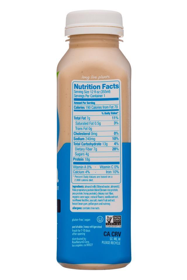 Koia: Koia-12oz-Nutrition-VanillaBean-Facts