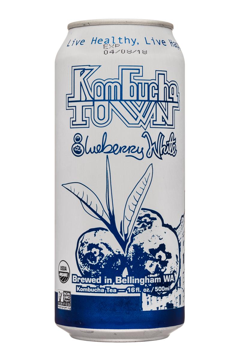 Kombucha Town: KombuchaTown-16oz-BluebWhite-Front