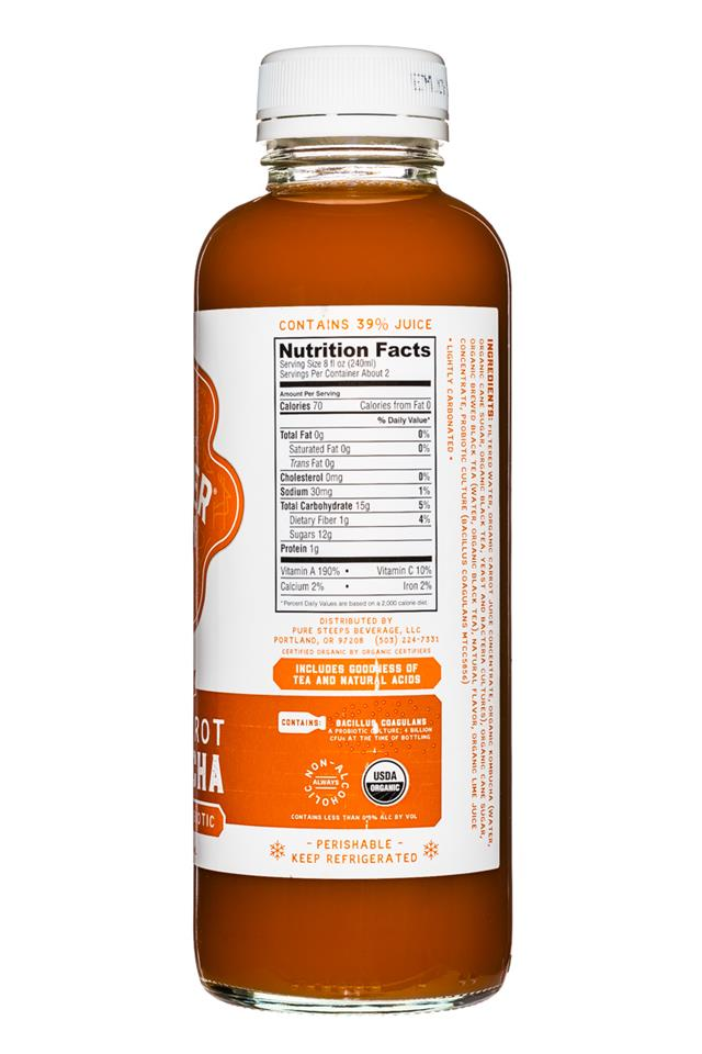 Kombucha Wonder Drink Raw: WonderDrink-15oz-ThaiCarrot-Facts