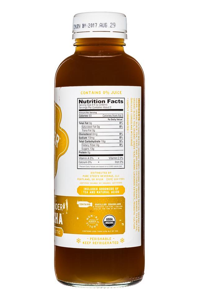 Kombucha Wonder Drink Raw: WonderDrink-15oz-HoneyLavender-Facts