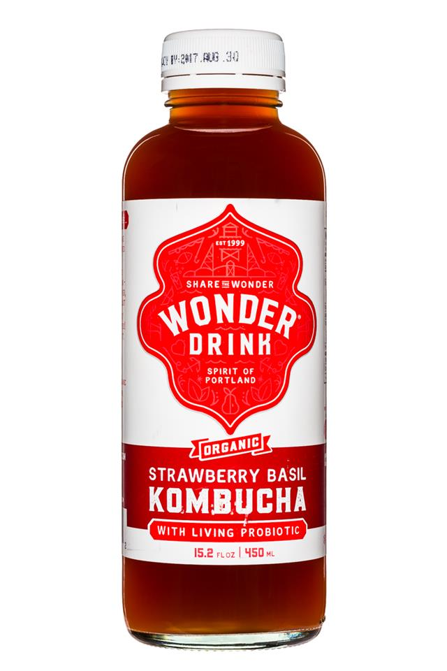 Kombucha Wonder Drink: WonderDrink-15oz-StrawberryBasil-Front