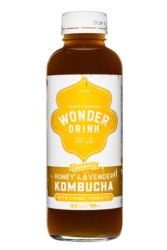 Kombucha Wonder Drink Raw: WonderDrink-15oz-HoneyLavender-Front
