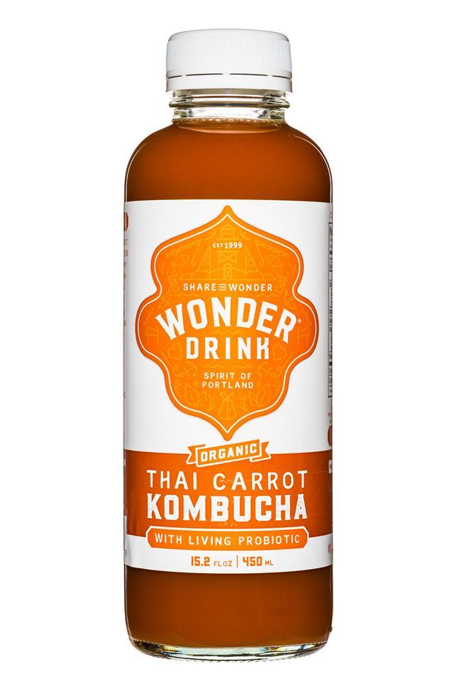 Wonder Drink: WonderDrink-Kombucha-15oz-ThaiCarrot-Front