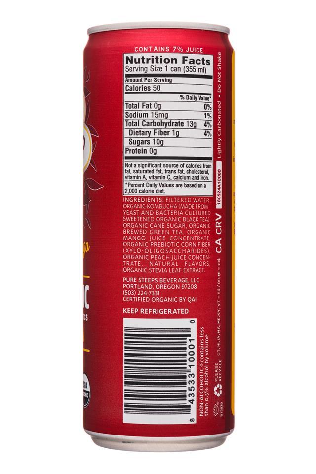 Wonder Drink: PureSteeps-12oz-WonderDrink-Prebiotic-TropicalMango-Facts