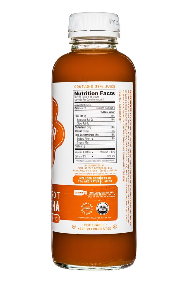 Wonder Drink: WonderDrink-Kombucha-15oz-ThaiCarrot-Facts