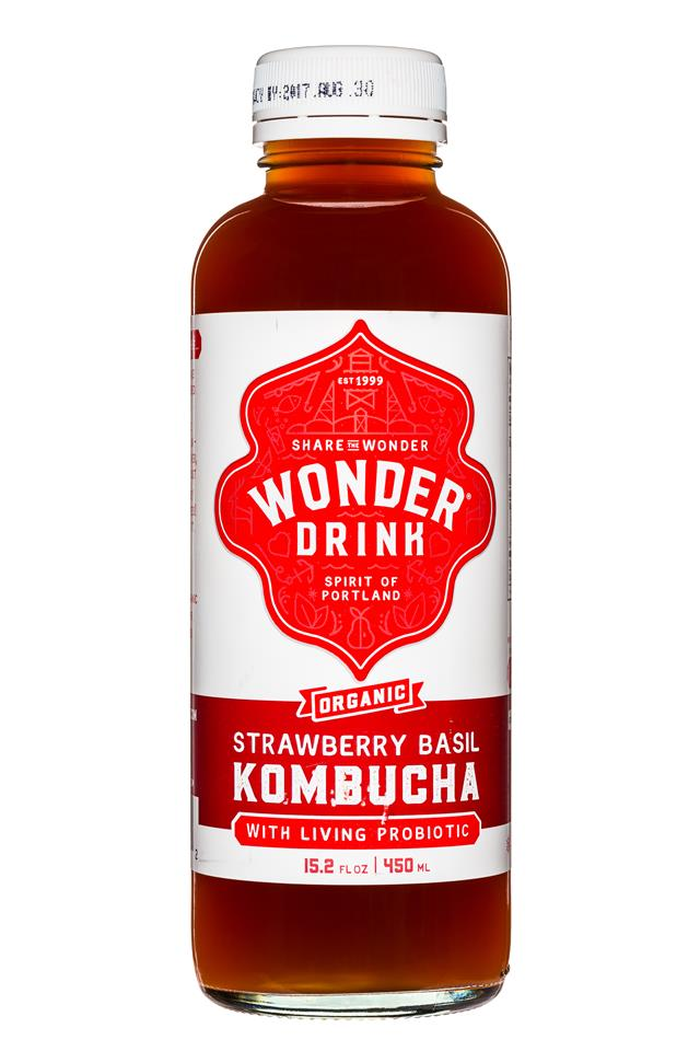 Wonder Drink: WonderDrink-Kombucha-15oz-StrawberryBasil-Front