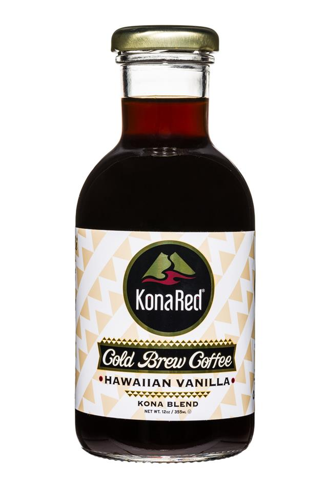KonaRed Cold Brew Coffee: KonaRed-ColdBrew-12oz-HawaiianVanilla-Front