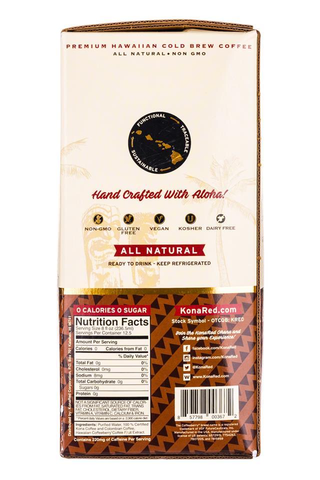 KonaRed Cold Brew Coffee: KonaRed-ColdBrew-Original-3L-Facts