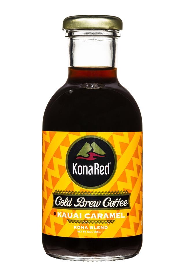 KonaRed Cold Brew Coffee: KonaRed-ColdBrew-12oz-KauaiCaramel-Front