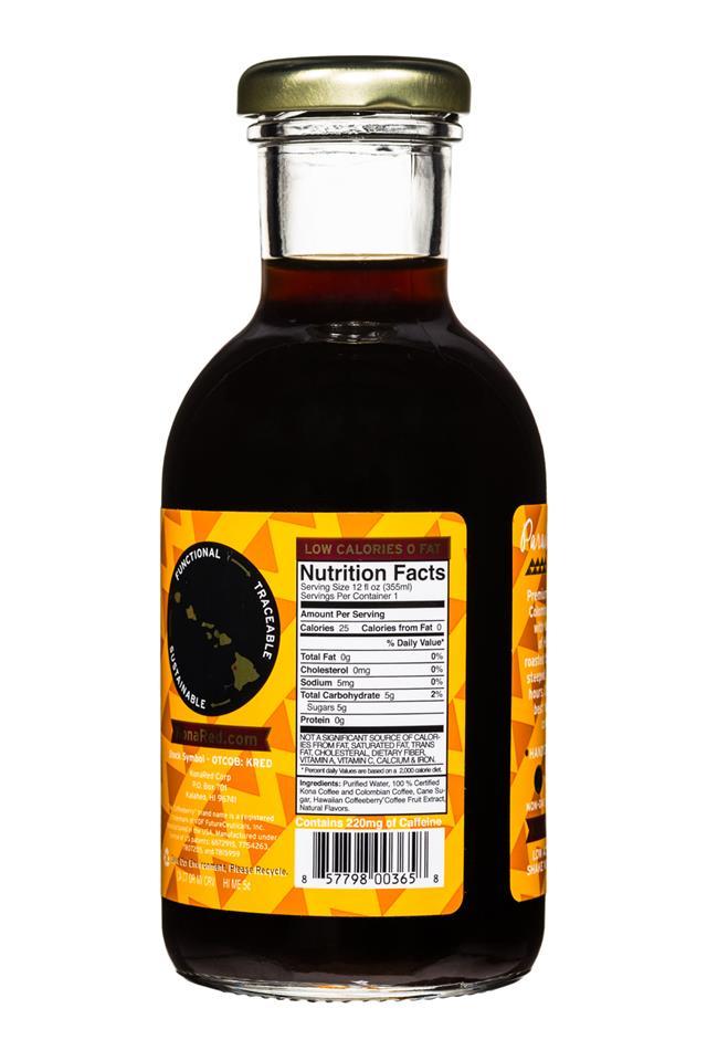 KonaRed Cold Brew Coffee: KonaRed-ColdBrew-12oz-KauaiCaramel-Facts