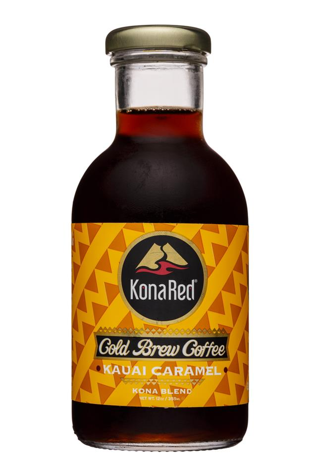 KonaRed Cold Brew Coffee: KonaRed-12oz-ColdBrew-KauaiCaramel-Front