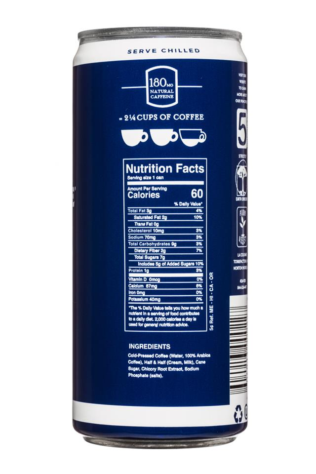 La Colombe Draft Latte: LaColombe-9oz-PureBlackWhite-Facts