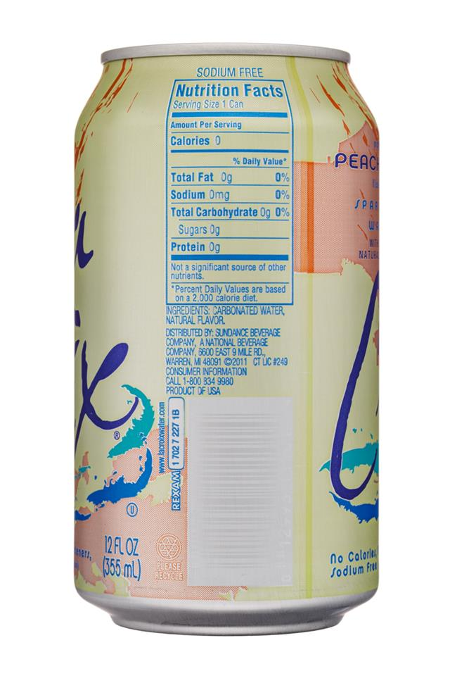 LaCroix: LaCroix-12oz-SparklingWater-PeachPear-Facts