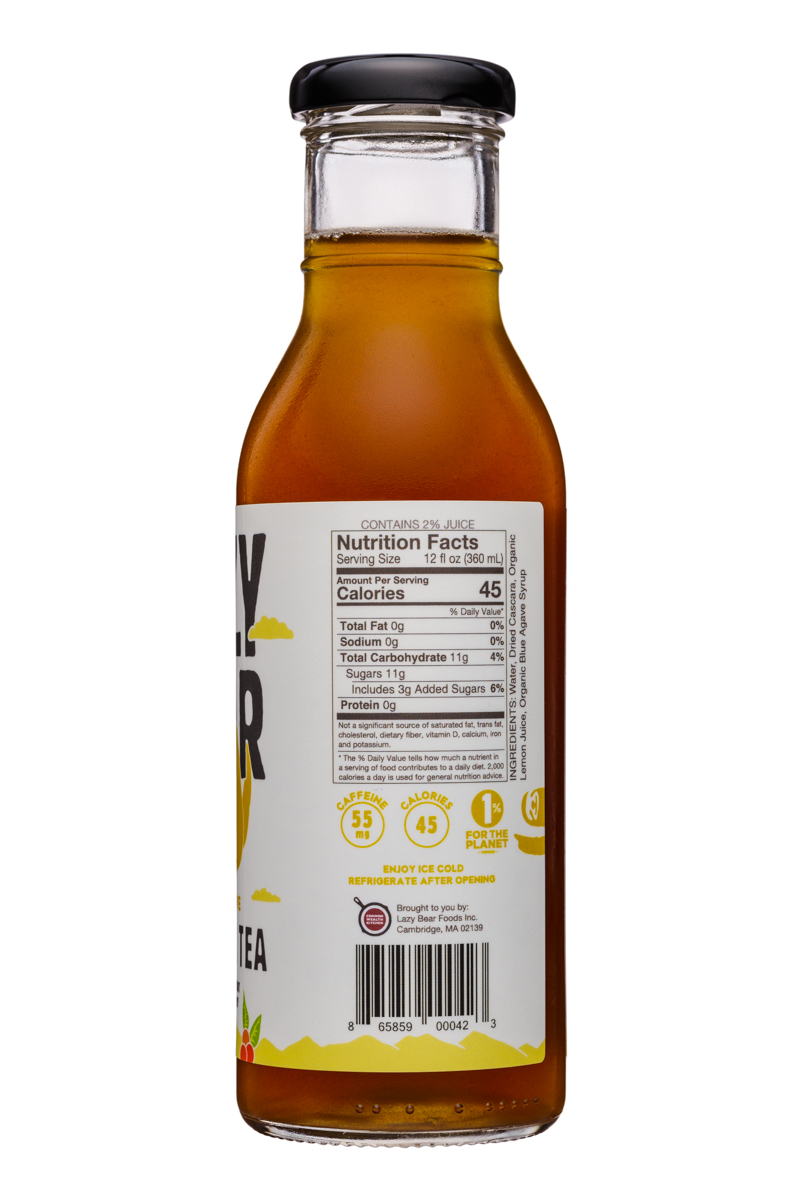 Lazy Bear: LazyBear-12oz-CascaraTea-LemonAgave-Facts
