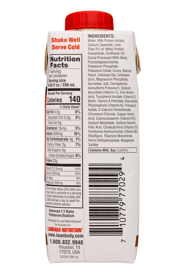 Lean Body: LeanBody-8oz-ProteinShake-Choc-Facts