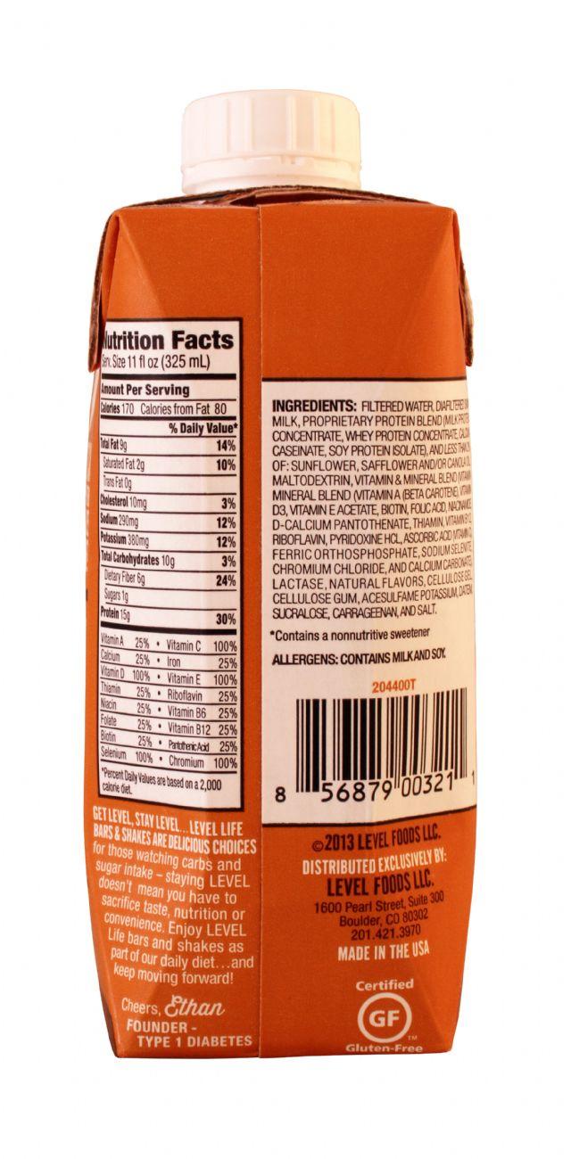 Level Life Protein Shake: Level Caramel Facts
