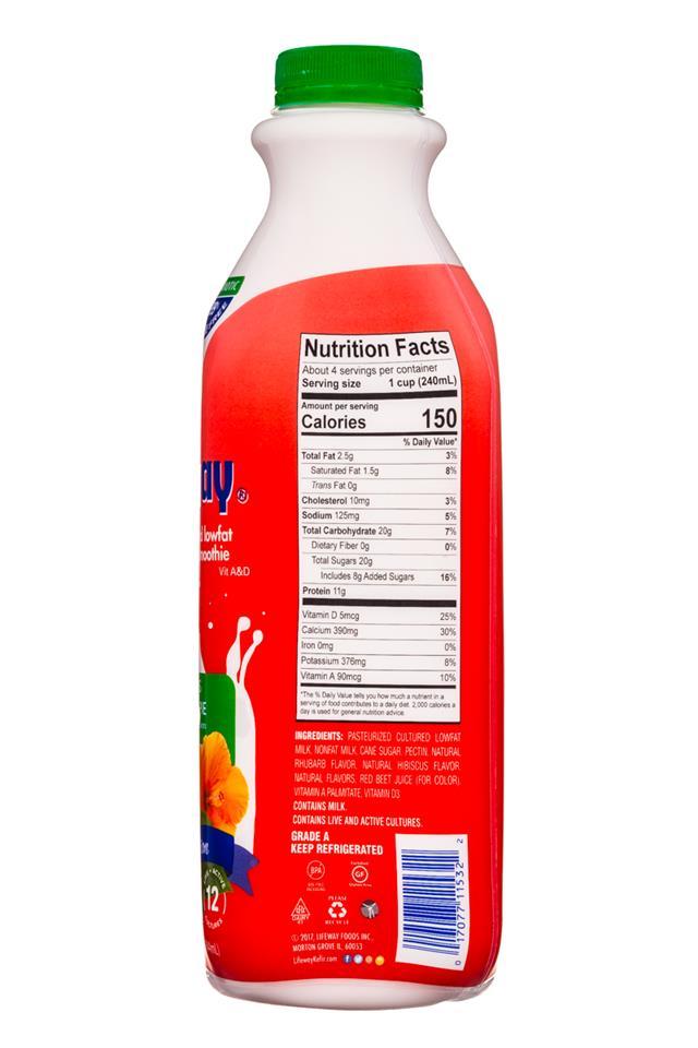 Lifeway Organic: Lifeway-Kefir-32oz-HibiscusRhubarbPie-Facts