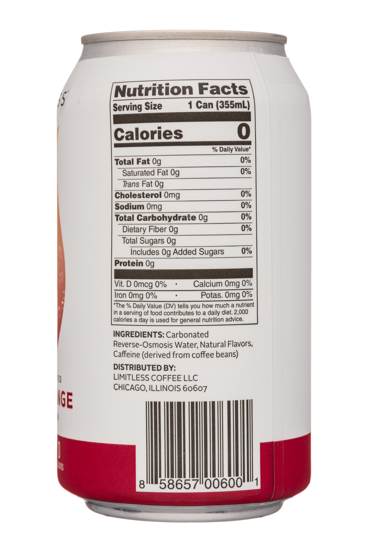 Limitless Coffee Sparkling Water: Limitless-12oz-CaffeinatedSparkling-BloodOrange-Facts