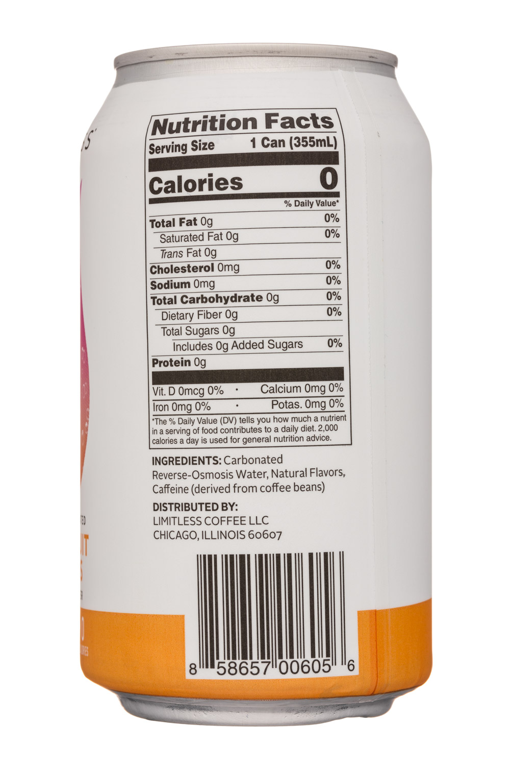 Limitless Coffee Sparkling Water: Limitless-12oz-CaffeinatedSparkling-GrapefruitHibiscus-Facts
