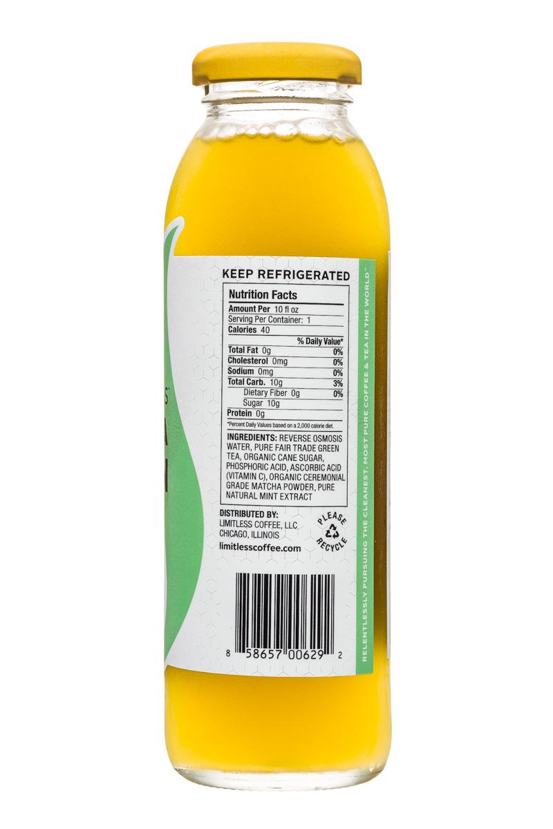 Limitless Matcha Green Tea: Limitless-MatchaGreenTea-10oz-SweetMint-Facts