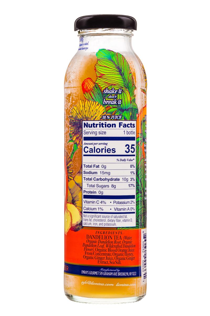 Lion Botanical Tonic: Lion-DandelionTea-10oz-BloodOrangeGinger-Facts