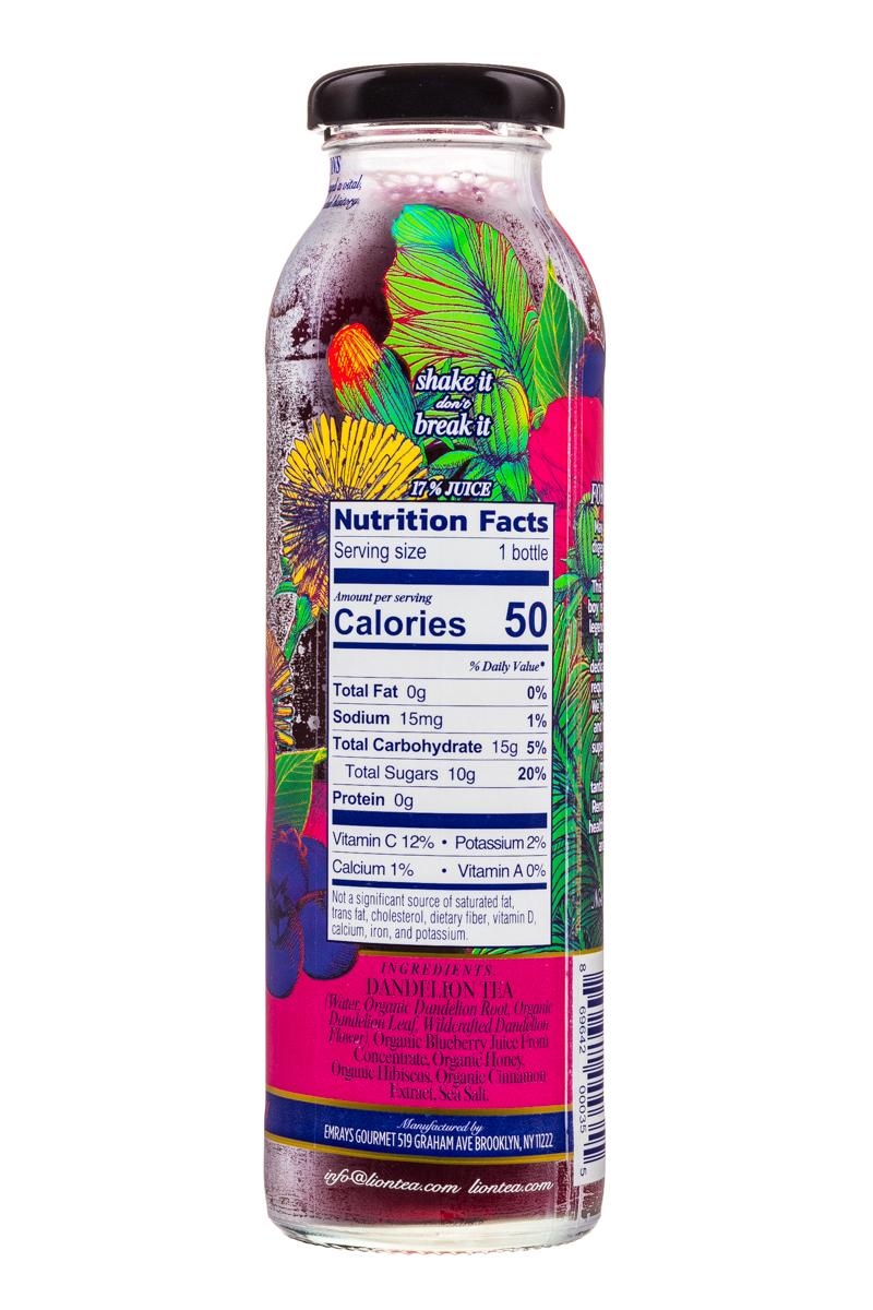 Lion Botanical Tonic: Lion-DandelionTea-10oz-HibiscusBlueb-Facts