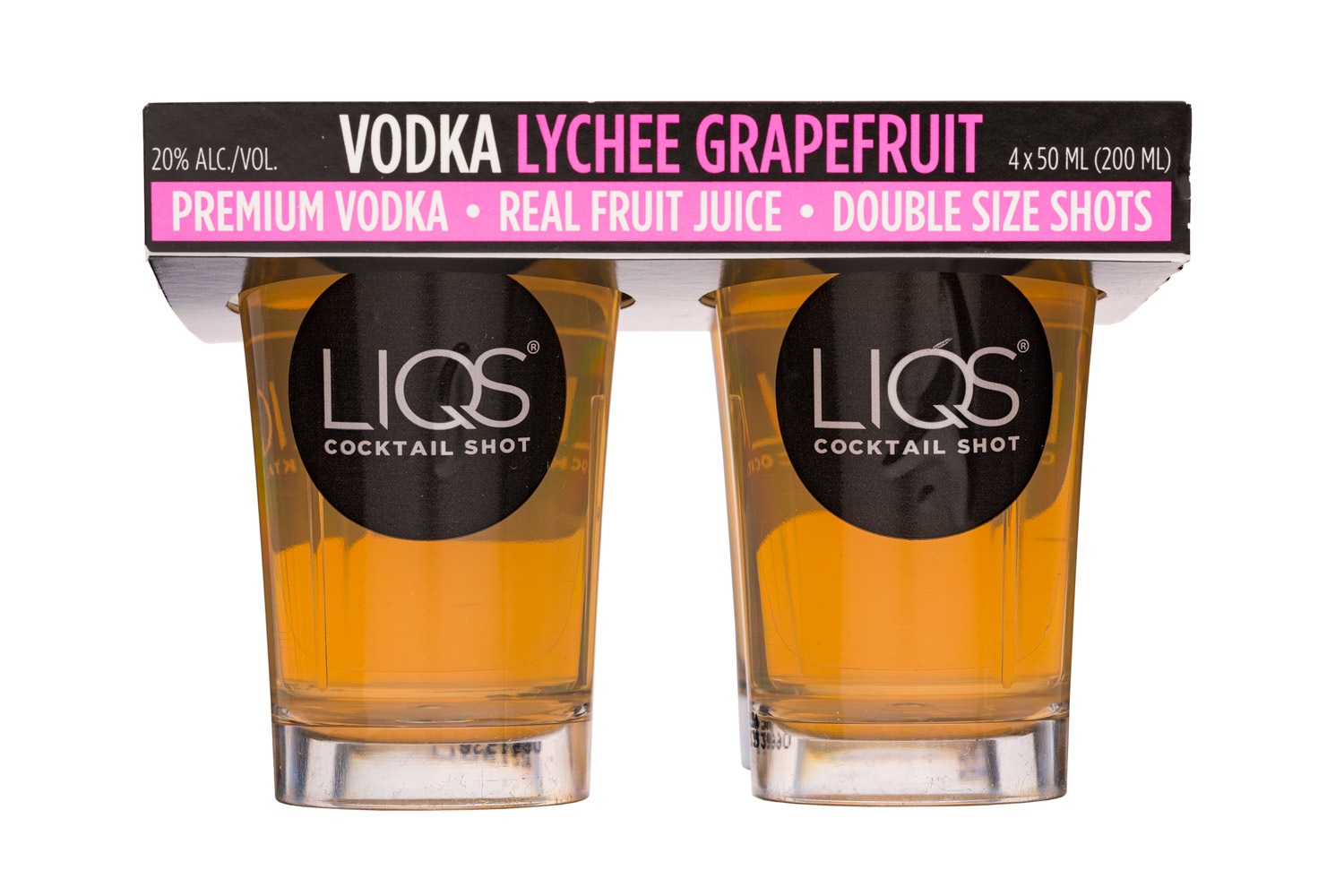 LIQS Cocktail Shot: LIQS-200ml-Shots-VodkaLycheeGrapefruit