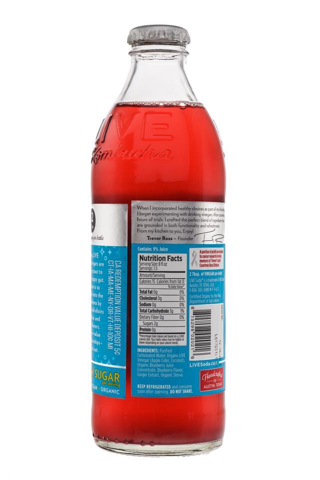 LIVE Sparkling Drinking Vinegars : Live-BlueberryGinger-Facts